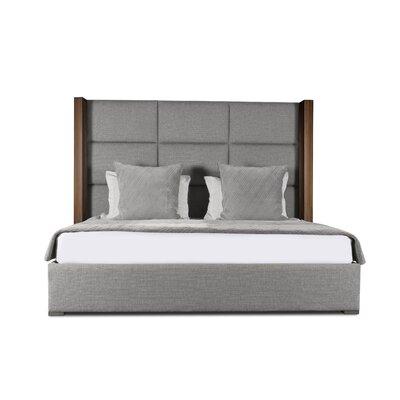 Harborcreek Square Tufted Upholstered Panel Bed Color: Gray, Size: High Height King