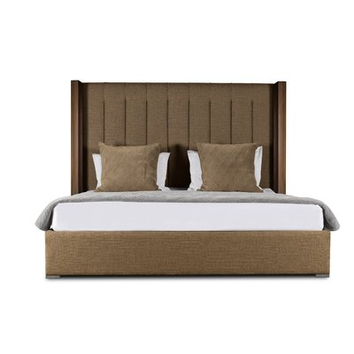 Harborcreek Upholstered Platform Bed Color: Brown, Size: Mid Height California King