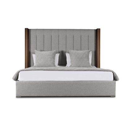 Harborcreek Vertical Channel Tufted Upholstered Panel Bed Color: Gray, Size: Mid Height Queen