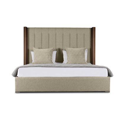 Harborcreek Vertical Channel Tufted Upholstered Panel Bed Color: Sand, Size: High Height Queen