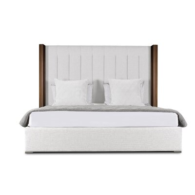 Harborcreek Vertical Channel Tufted Upholstered Panel Bed Color: White, Size: High Height California King