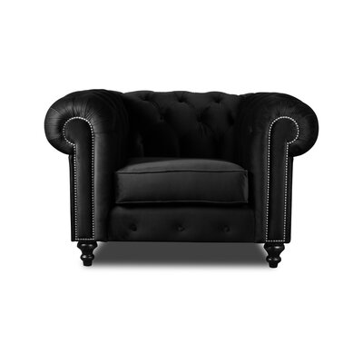 Hanover Chesterfield Chair Upholstery: Black