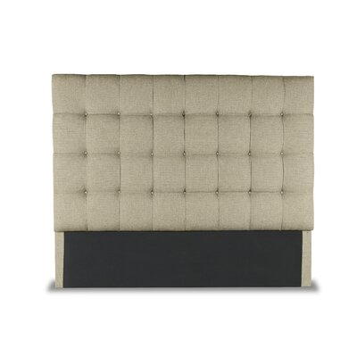 Hannover Box Tufting Upholstered Wingback Headboard Color: Sand, Size: High Height Queen