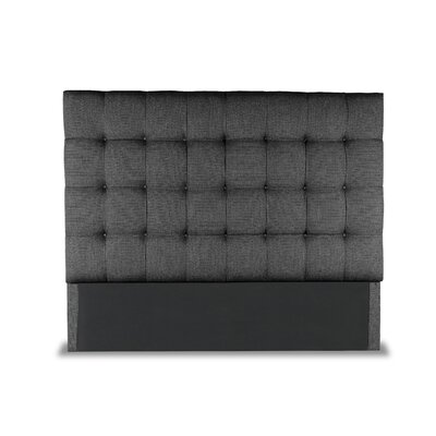 Hannover Box Tufting Upholstered Wingback Headboard Color: Charcoal, Size: Mid Height California King