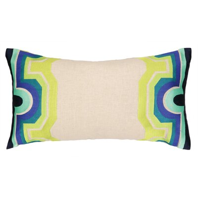 Arcata Embroidered Lumbar Pillow Color: Blue / Green