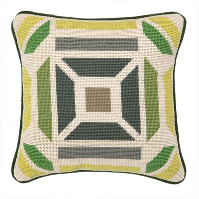 Novato Needlepoint Throw Pillow Color: Green / Citron