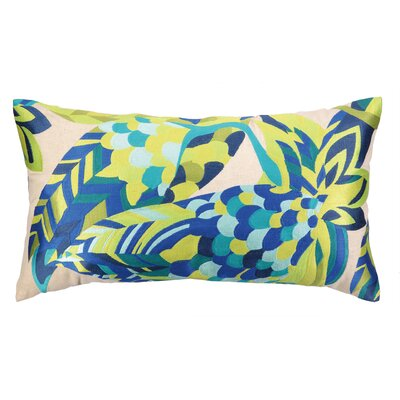 La Palma Embroidered Lumbar Pillow Color: Blue