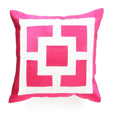 Palm Springs Blocks Linen Throw Pillow Color: Pink