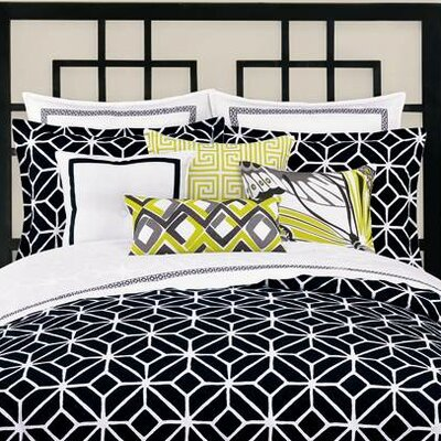 Palm Springs Block Euro Sham Color: Black