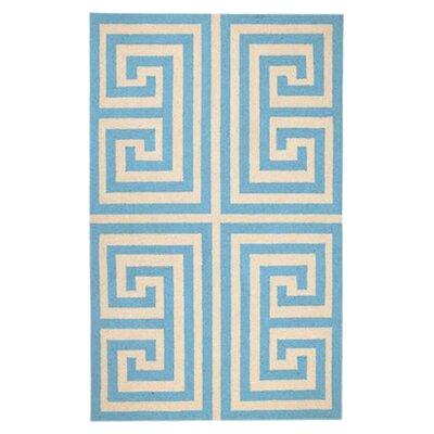 Greek Key Blue Geometric Area Rug Rug Size: 3 x 5
