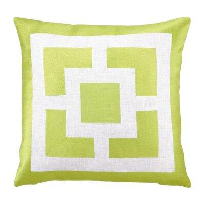 Palm Springs Blocks Linen Throw Pillow Color: Green