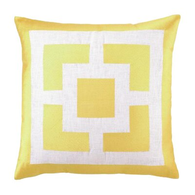 Palm Springs Blocks Linen Throw Pillow Color: Yellow