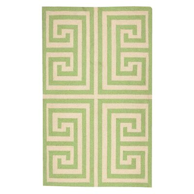 Greek Key Green Geometric Area Rug Rug Size: 3 x 5