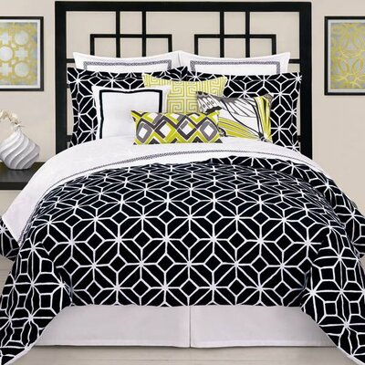 Palm Springs Blocks 4 Piece 400 Thread Count 100% Cotton Sheet Set Size: Queen, Color: Black