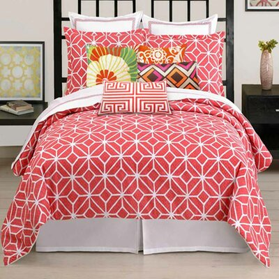 Residential 3 Piece Comforter Set Size: Queen, Color: Coral