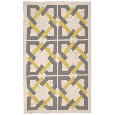 Geometric Tile Yellow/Grey Area Rug Rug Size: 3 x 5