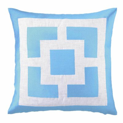 Palm Springs Blocks Linen Throw Pillow Color: Turquoise