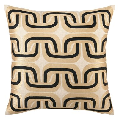 Geo Links Linen Pillow Color: Taupe/Black