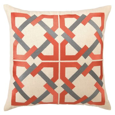 Geometric Tile Linen Throw Pillow Color: Orange / Gray