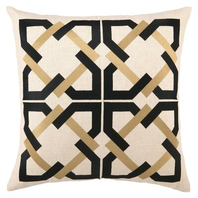 Geometric Tile Linen Throw Pillow Color: Black / Tan