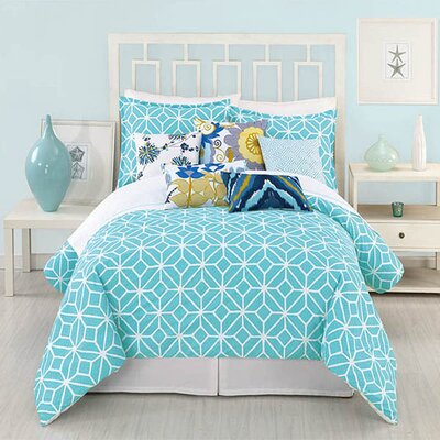 Palm Springs Blocks 4 Piece 400 Thread Count 100% Cotton Sheet Set Size: Queen, Color: Turquoise