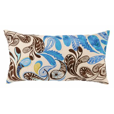 Paisley Linen Lumbar Pillow Color: Blue