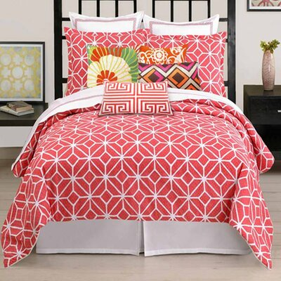Palm Springs Blocks 4 Piece 400 Thread Count 100% Cotton Sheet Set Size: Queen, Color: Coral
