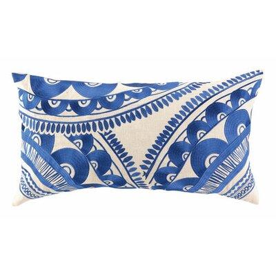 Tribal Wool Lumbar Pillow Color: Blue