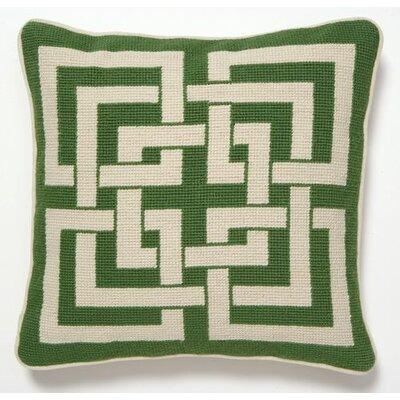 Shanghai Links Linen Throw Pillow Color: Green / White