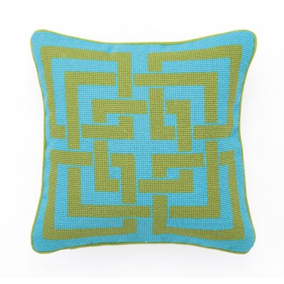 Shanghai Links Linen Throw Pillow Color: Green / Turquoise