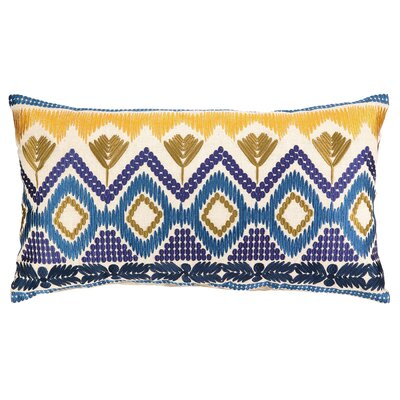 Anza Embroidered Linen Lumbar Pillow Color: Blue