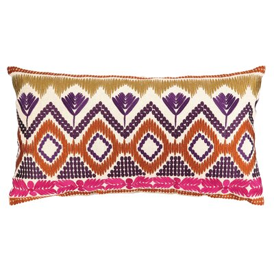 Anza Embroidered Linen Lumbar Pillow Color: Magenta