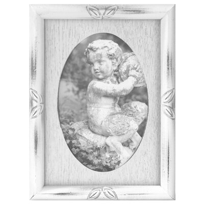 Oval Washed Picture Frame Color: White