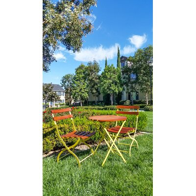 Uptown 3 Piece Folding Bistro Set Finish: Yellow