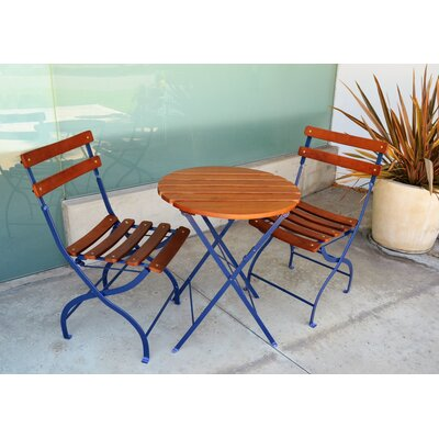 Uptown 3 Piece Folding Bistro Set Finish: Costal Blue