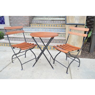 Uptown 3 Piece Folding Bistro Set Finish: Black