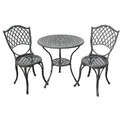 3 Piece Bistro Set Finish: Antique Black Bamboo