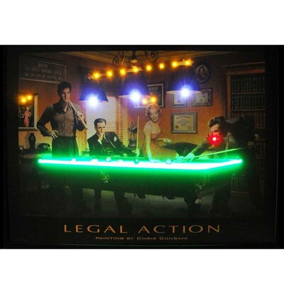 Retro Legal Action Neon LED Framed Vintage Advertisement Legal Action Lighted Poster