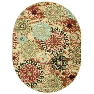 Barclay Delilahs Place Floral Suzani Area Rug Rug Size: Oval 53 x 610