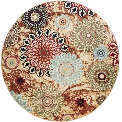 Barclay Delilahs Place Floral Suzani Area Rug Rug Size: Round 53