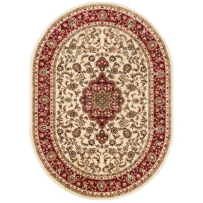 Barclay Medallion Kashan Traditional Ivory Area Rug Rug Size: Oval 53 x 610
