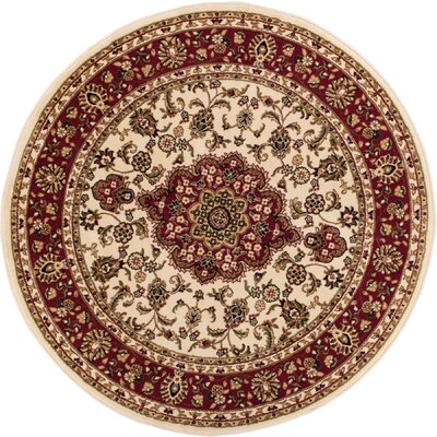 Barclay Medallion Kashan Traditional Ivory Area Rug Rug Size: Round 710