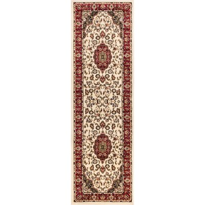 Barclay Medallion Kashan Traditional Ivory Area Rug Rug Size: Runner 27 x 91