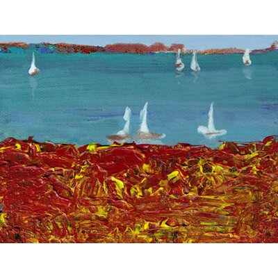 Boats on Lake Painting Print on Wrapped Canvas Size: 30
