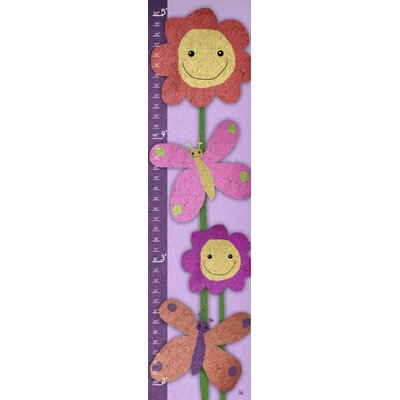 Green Leaf Art Butterflies and Flowers Smiling Growth Chart