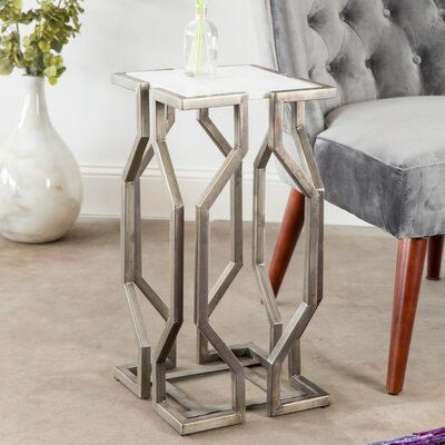 Lundstrom Geometric End Table Color: Pewter