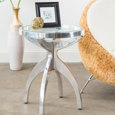 Sunset Park Round Metal End Table with Glass Top