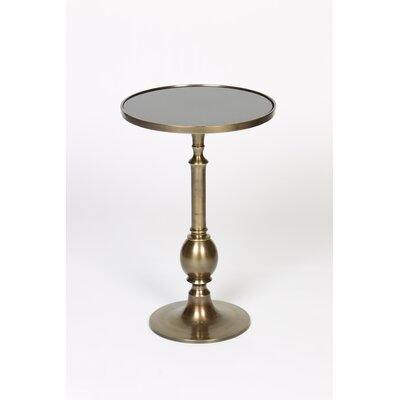 Turned Egg End Table Table Base Color: Antique Brass