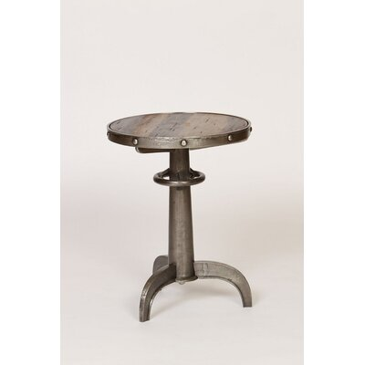 Industrial Pedestal End Table