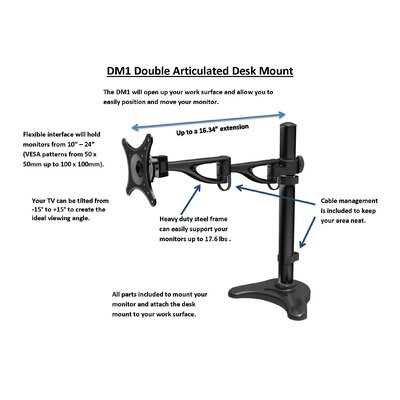 Double Articulated Height Adjustable Desk Mount